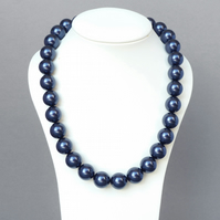 Chunky Navy Pearl Necklace - Dark Blue Pearls - Mother of the Bride Jewellery