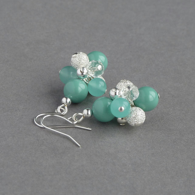 Aqua Stardust Earrings - Mint Pearl Cluster Drop Earrings - Bridesmaid Gifts