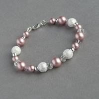 Dusky Pink Stardust Bracelet - Powder Rose Pearl Wedding Jewellery - Bridesmaids