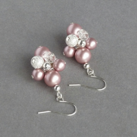 Dusky Pink Stardust Earrings - Pink Pearl and Rose Quartz Cluster Drop Earrings