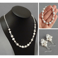 Ivory Stardust Jewellery Set - White Pearl Necklace, Bracelet and Earrings