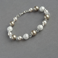 Champagne Stardust Bracelet - Beige Taupe Pearl Wedding Jewellery - Coffee Gifts