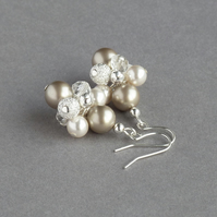 Champagne Stardust Earrings - Coffee and Ivory Pearl Cluster Earrings - Wedding