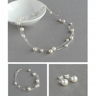 White Floating Pearl Jewellery Set - 3 Strand Necklace, Bracelet and Earrings
