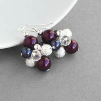 Plum Stardust Earrings - Pearl Cluster Earrings - Aubergine Bridesmaid Jewellery