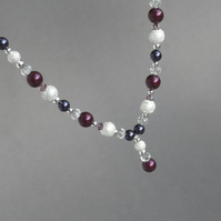 Plum Stardust Y Necklace - Purple Pearl Wedding Jewellery - Bridesmaid Gifts