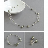 Sage Green Floating Pearl Jewellery Set - Olive Necklace, Bracelet and Earrings