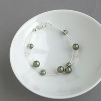 Sage Green Floating Pearl Bracelet - Woodland Wedding Jewellery - Khaki Bracelet