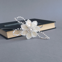 Cream Flower Tiara - Pearl and Crystal Bridal Head Piece - Wedding Fascinator