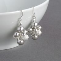 Silver Stardust Earrings - Pale Grey Cluster Drop Earrings - Bridesmaids Gifts
