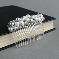 Silver Stardust Hair Comb - Light Grey Pearl and Crystal Hair Accessories