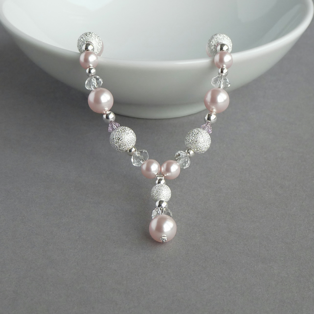 Blush Pink Stardust Y Necklace - Pale Pink Drop Necklace - Bridesmaid Jewellery
