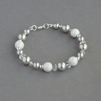 Silver Pearl Stardust Bracelet - Light Grey Bridesmaid Gifts - Wedding Jewellery