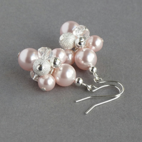 Blush Pearl Cluster Earrings - Pale Pink Stardust Earrings - Wedding Jewellery