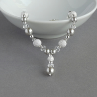 Silver Pearl Stardust Y Necklace - Pale Grey Drop Necklace - Wedding Jewellery