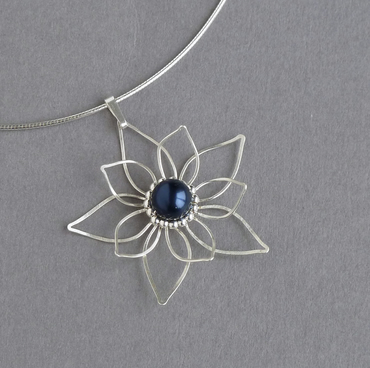 Silver and Navy Pearl Necklace - Wire Flower Bridal Necklace - Wedding Jewellery