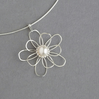 Wire Flower Bridal Necklace - Sterling Silver and White Pearl Pendant - Wedding