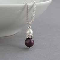 Plum Pearl and Crystal Necklace - Aubergine Drop Pendant - Bridesmaid Jewellery