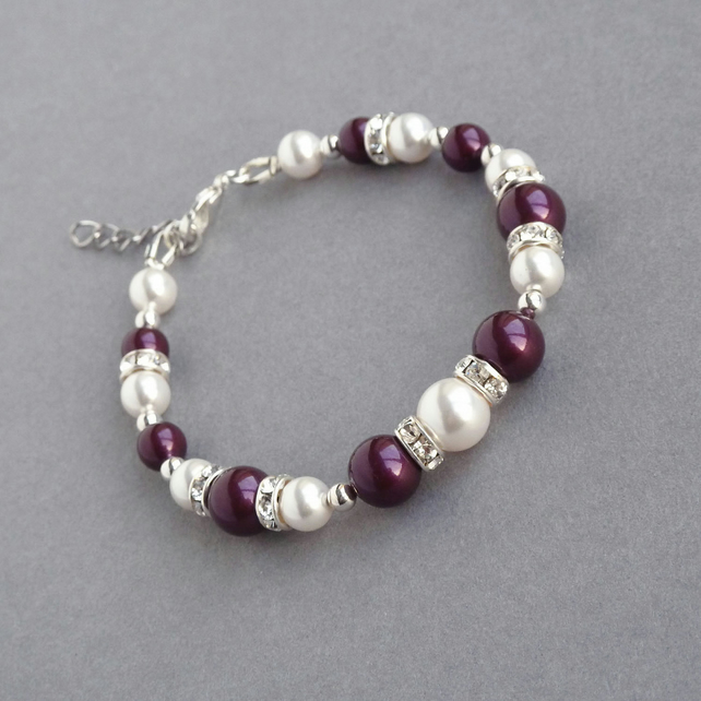 Plum Pearl and Crystal Bracelet - Aubergine Bridesmaid Gift - Purple Jewellery