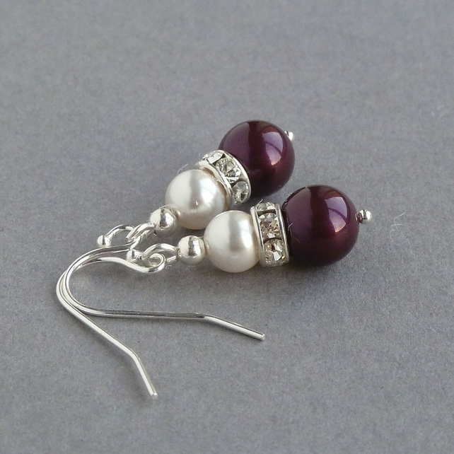 Plum Pearl Drop Earrings - Aubergine Bridesmaid Gifts - Purple Wedding Jewellery