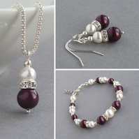 Plum Pearl Jewellery Set - Aubergine Necklace, Bracelet and Drop Earrings - Gift