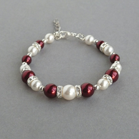 Claret Pearl Bracelet - Dark Red Wedding Jewellery - Burgundy Bridesmaids Gifts