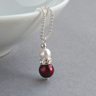 Claret Pearl Drop Necklace - Dark Red Wedding Jewellery - Burgundy Bridesmaids