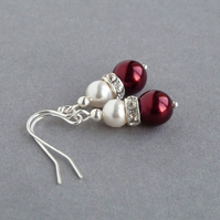 Claret Pearl Drop Earrings - Burgundy Wedding Jewellery - Dark Red Bridesmaids