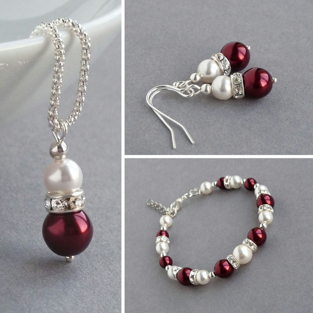 Claret Pearl Jewellery Set - Burgundy Wedding Necklace, Bracelet and Earring Set