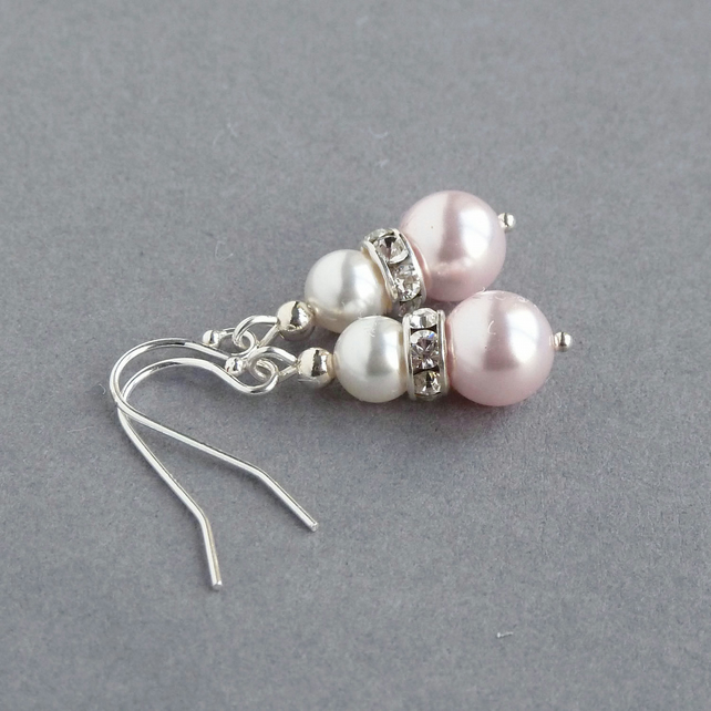 4c42099910b89 Blush Pearl Drop Earrings - Light Pink Wedding Jewellery - Pale Pink  Bridesmaids