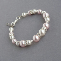 Blush Pink Pearl and Crystal Bracelet - Wedding Jewellery - Bridesmaids Gifts