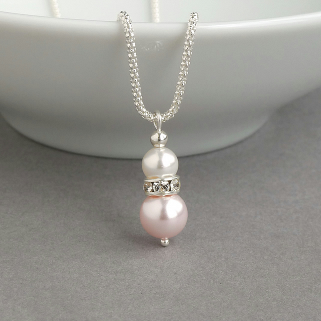 Blush Pink Pearl Drop Necklace - Light Pink Wedding Jewellery - Pink Bridesmaids