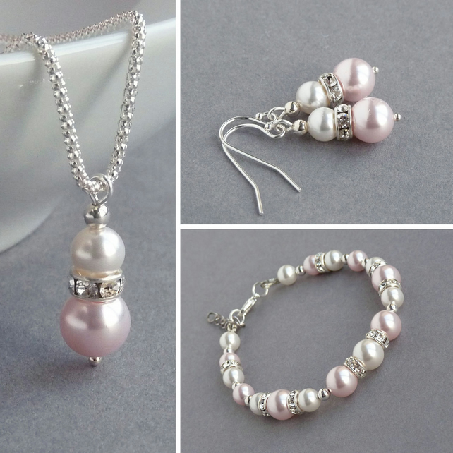 Blush Pink Jewellery Set - Necklace, Bracelet and Earrings - Pale Pink Wedding