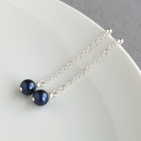 Long Navy Earrings - Pearl Drop Earrings - Dark Blue Bridesmaid Jewellery