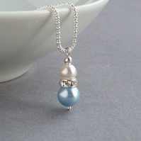 Light Blue Pearl and Crystal Necklace - Bridesmaid Gifts - Pale Blue Wedding