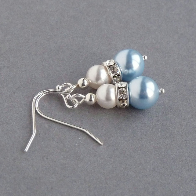 Light Blue Pearl and Crystal Bridesmaid Earrings - Bridal Party GIfts - Wedding