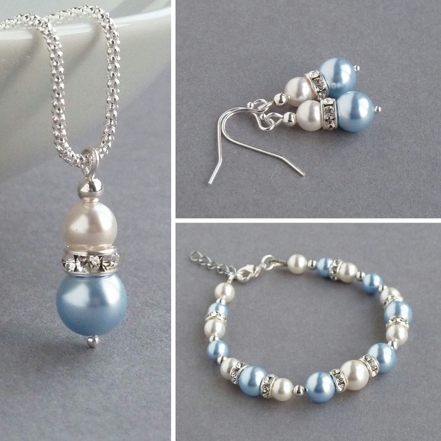 Light Blue Pearl Jewellery Set - Bridesmaid Necklace, Bracelet and Drop Earrings