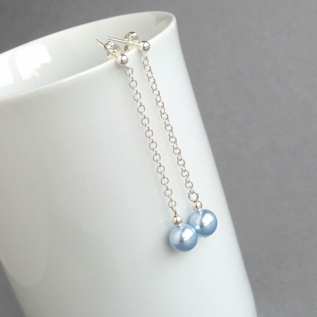 Long Light Blue Earrings - Powder Blue Chain Drop Earrings - Bridesmaid GIfts