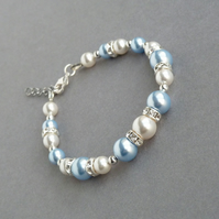 Light Blue and White Pearl Bracelet - Pale Blue Bridesmaid Jewellery - Wedding
