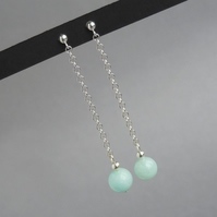 Long Mint Drop Earrings - Aqua Dangle Earrings - Pastel Green Silver Jewellery