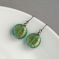 Teal Glass Drop Earrings - Aqua Foil Lined Glass Coin Earrings - Dangle Earrings