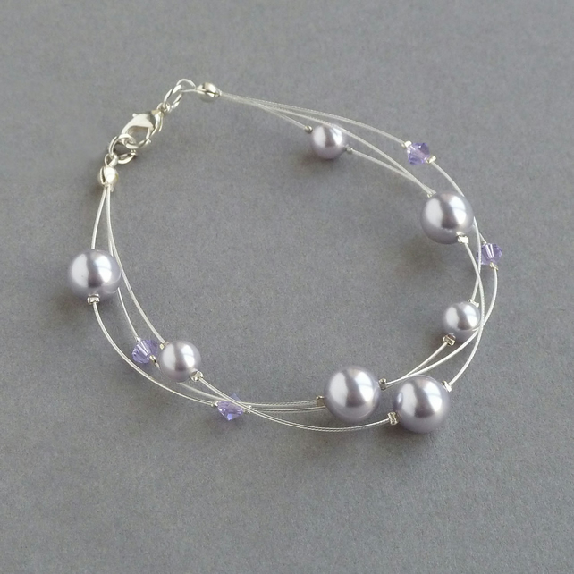 Lavender Floating Pearl Bracelet - Lilac Bridesmaids Gifts - Bridal Jewellery
