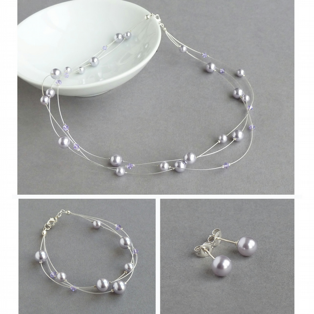 Lavender Floating Pearl Jewellery Set - Necklace, Bracelet and Stud Earrings