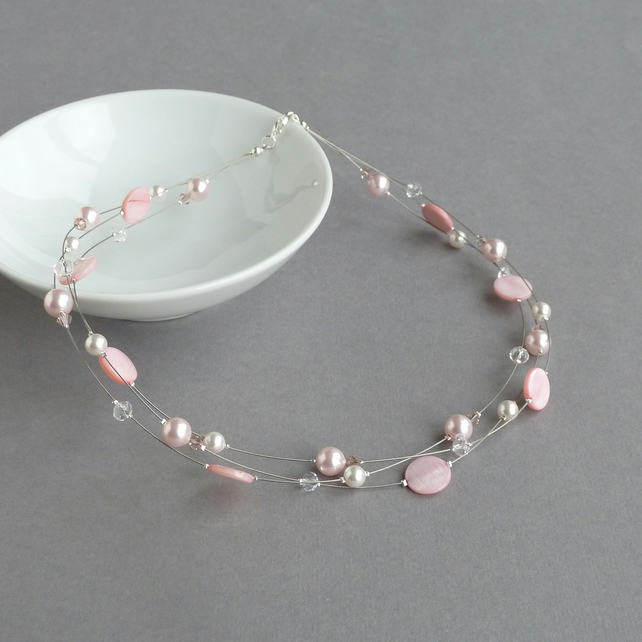 Light Pink Multi-strand Necklace - Blush Bridesmaids Gifts - Wedding Jewellery