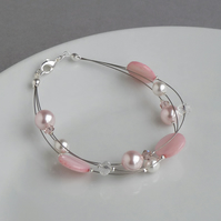 Light Pink Multi-strand Bracelet - Blush Bridesmaids Gifts - Wedding Jewellery