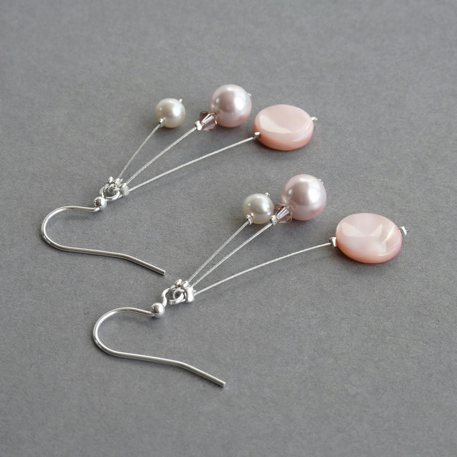 Light Pink Three Strand Earrings - Blush Bridesmaids Gifts - Wedding Jewellery