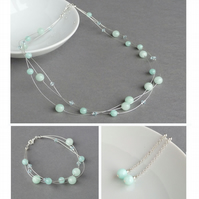 Mint Green Floating Pearl Jewellery Set - Aqua Necklace, Bracelet and Earrings