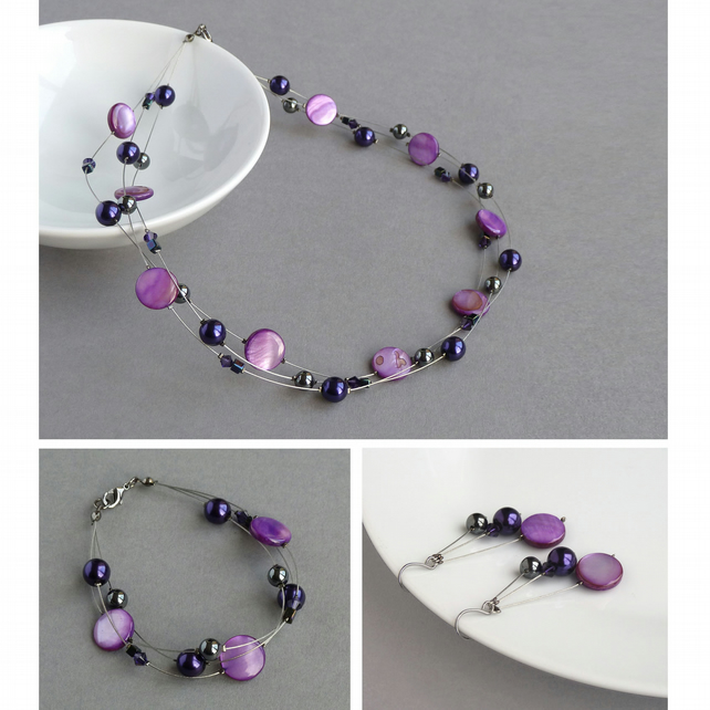 Purple Floating Pearl Jewellery Set - Bridesmaid Necklace, Bracelet and Earrings