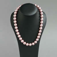 Chunky Dusky Pink Necklace - Mother of the Bride or Groom - Pink Wedding Pearls