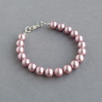Dusky Pink Pearl Bracelet - Powder Pink Bridesmaids Gifts - Wedding Jewellery